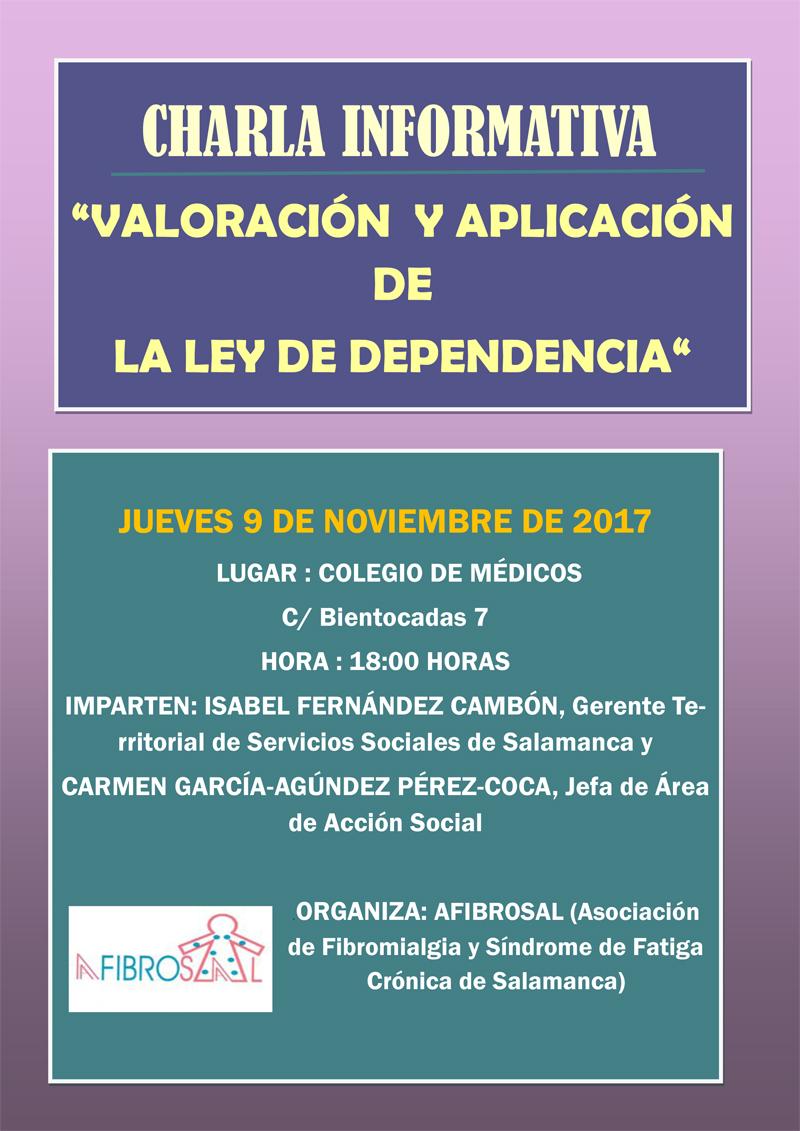 """Charla informativa """"Valoración y Aplicación de la ley de Dependencia"""""""